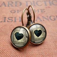 Black Heart No.1 Leverback Earrings (RR04)