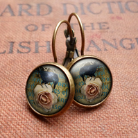 Raven and Pink Rose Leverback Earrings (RR05)