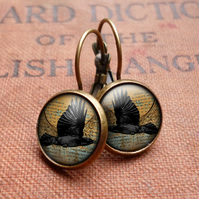Raven In Flight Leverback Earrings (RR03)
