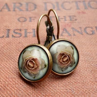 Pink Rose Leverback Earrings (RR08)