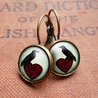 Raven and Red Heart No.2 Leverback Earrings (RR09)