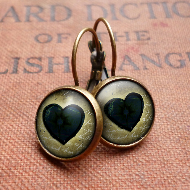 Black Heart No.2 Leverback Earrings (RR10)