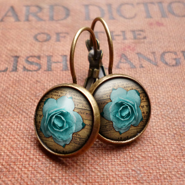 Blue Rose Leverback Earrings (RR02)