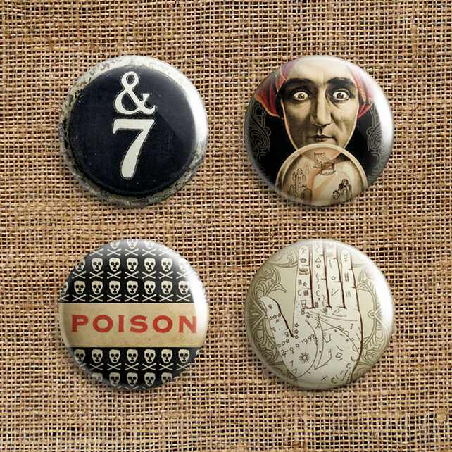Badge Pack – Set Of 4 Dark Journey Button Badges (DJ)