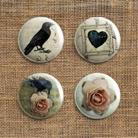Badge Pack – Set Of 4 Roses and Ravens Button Badges (RR)