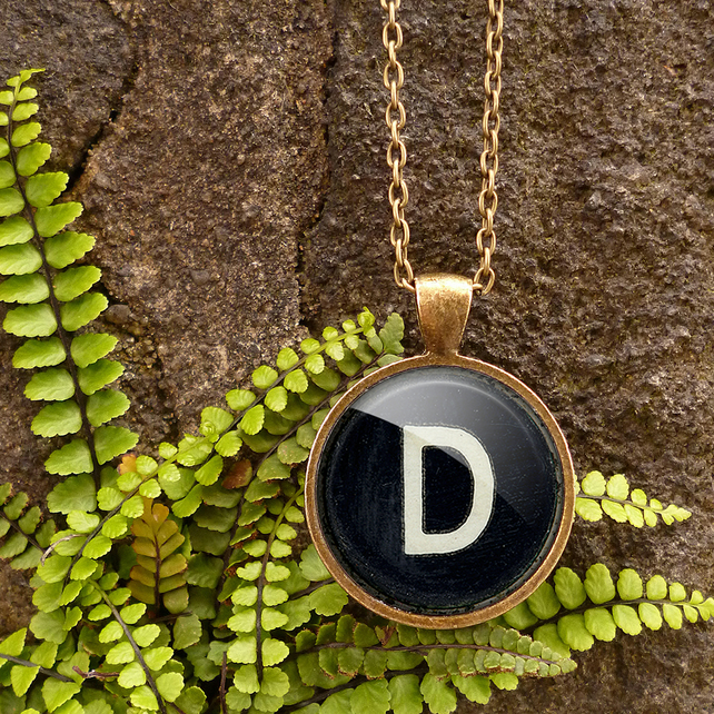 Personalised Initial Alphabet Typewriter Key Large Necklace