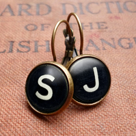Personalised Initials Alphabet Number Typewriter Key Leverback Earrings