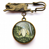 Snowdrop Hare Pin Brooch (AN05)