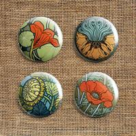 Badge Pack – Set Of 4 Art Nouveau Button Badges (AN)