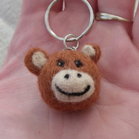 needle felted monkey keyring