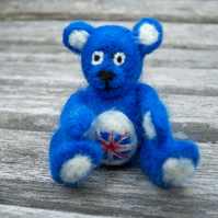 Union Jack needle felted bear *RESERVED*