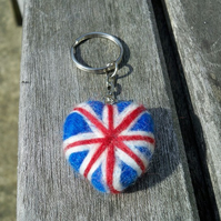 union jack needle felted heart keyring