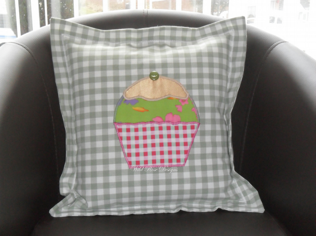 Cushions with appliqued cupcake - Sale item!