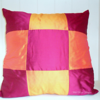 Cerise and orange  Silk cushion