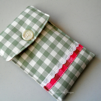 Kindle case in a green and cream check