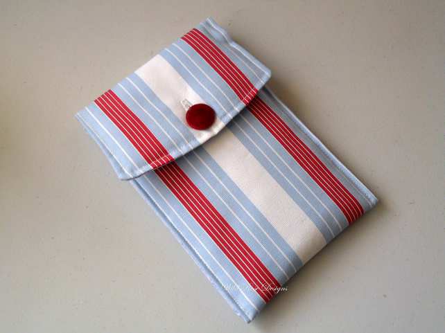 Kindle cover in red, white and blue stripes