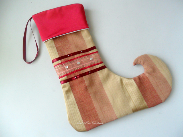 Christmas Stocking in a red and gold stripe - Sale item!