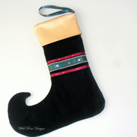 Christmas Stocking in dark green velvet - Sale item!