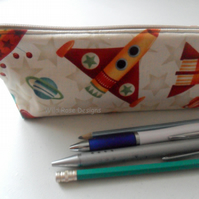 Pencil case in cute space ship fabric - discontinued line