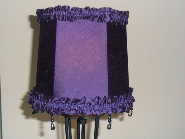 Purple silk Lampshade - Sale item!
