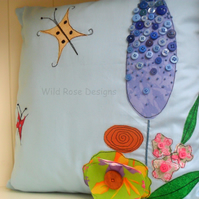 Cushion 'Flowers and butterflies' - Sale item!