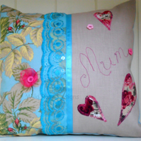 'Mum' cushion. Mother's Day gift. Small cushion.