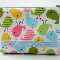 Make up bag in a bird print