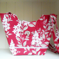 Country chic handbag. Raspberry tote bag. Shoulder bag.