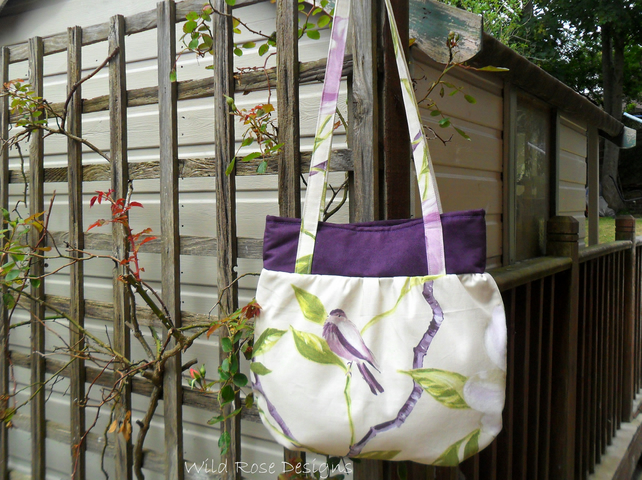 Handbag in a lilac shabby chic fabric