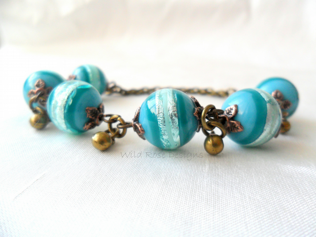 Teal stripe Bracelet- sale item!