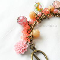 Peaches and Cream charm Bracelet