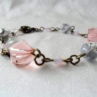 Pink and grey Crystal bracelet - Sale item!
