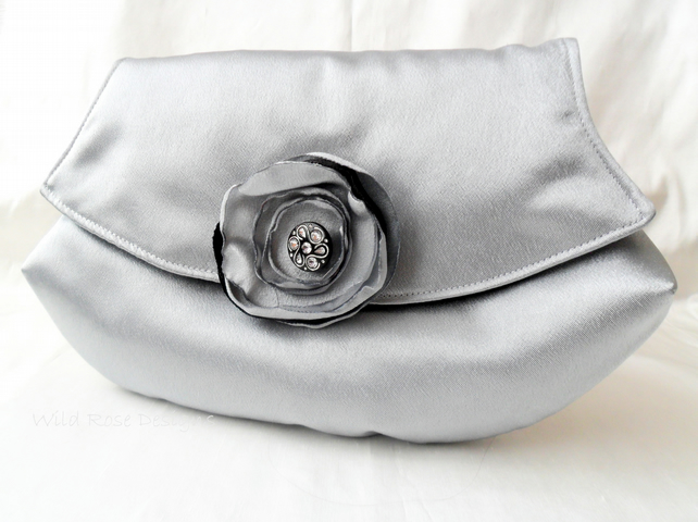 Silver satin Evening Clutch Bag