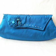 Clutch Bag in Peacock Blue Silk