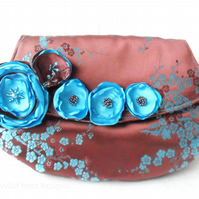 Clutch Bag in brown and teal satin - Sale item!