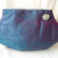 Sale!  Green Silk clutch