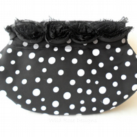 Black and white spotted Clutch evening bag