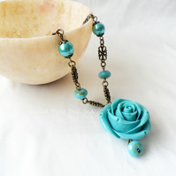 Turquoise Rose Necklace - Sale item!