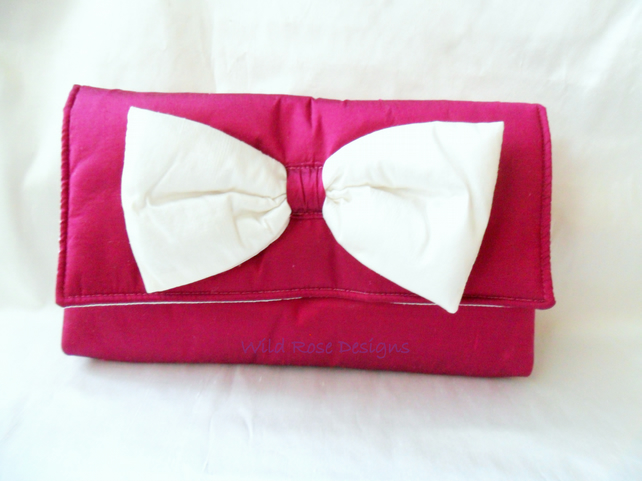 Wedding Bag in Cerise silk
