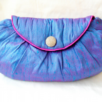 Evening Bag in Blue Silk