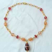 Pink and gold beaded necklace - Sale item, final reductions!