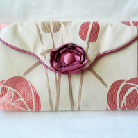 Cream and pink Art Deco clutch evening bag