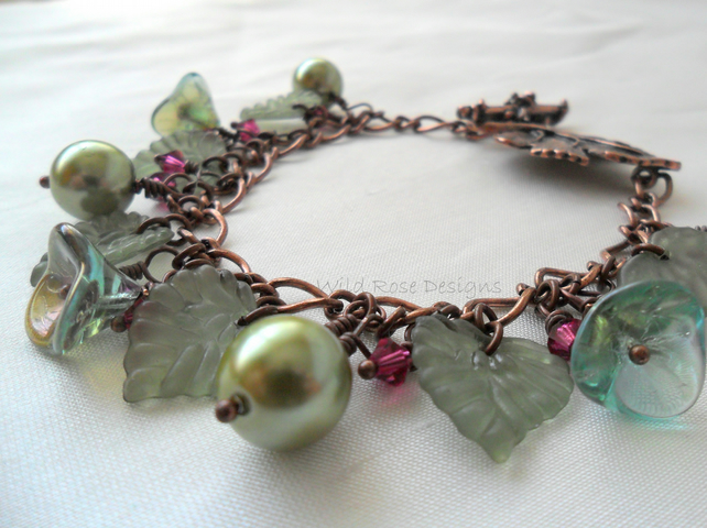 Woodland themed Charm style bracelet in green and fuchsia. - Sale item!