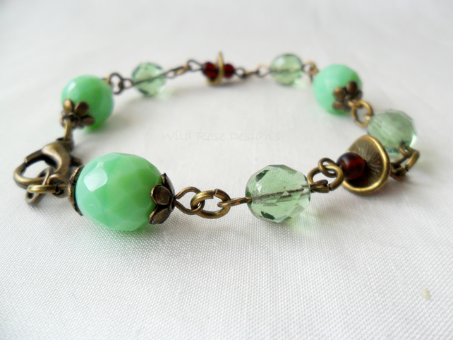 Green and ruby bracelet  - Sale item!