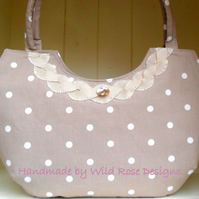 Beige and white Spot print handbag