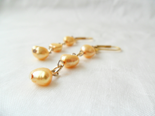 Gold Freshwater Pearl dangle earrings - Sale item!