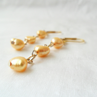 Gold Freshwater Pearl dangle earrings