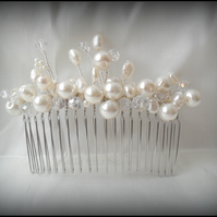 Ivory Pearl and Crystal Hair comb