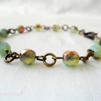 Golden green opal bracelet