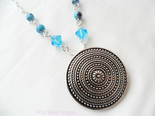 Turquoise and silver pendant necklace - Sale item!